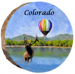 omi697 colorado hot air balloon with elk wood ornament