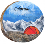 omi867 colorado mountain tent camping wood ornament