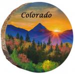 omi869 colorado longs peak at sunset wood ornament