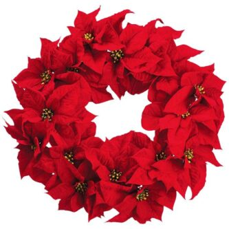 20 Inch Majestic Red Velvet Poinsettia Wreath