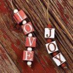 love and joy christmas block  ornament