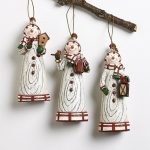 wood look snowmen ornaments