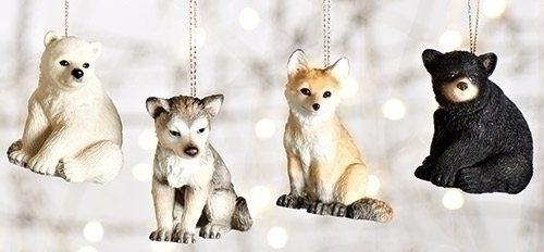 polar bear black bear wolf fox baby animal ornaments