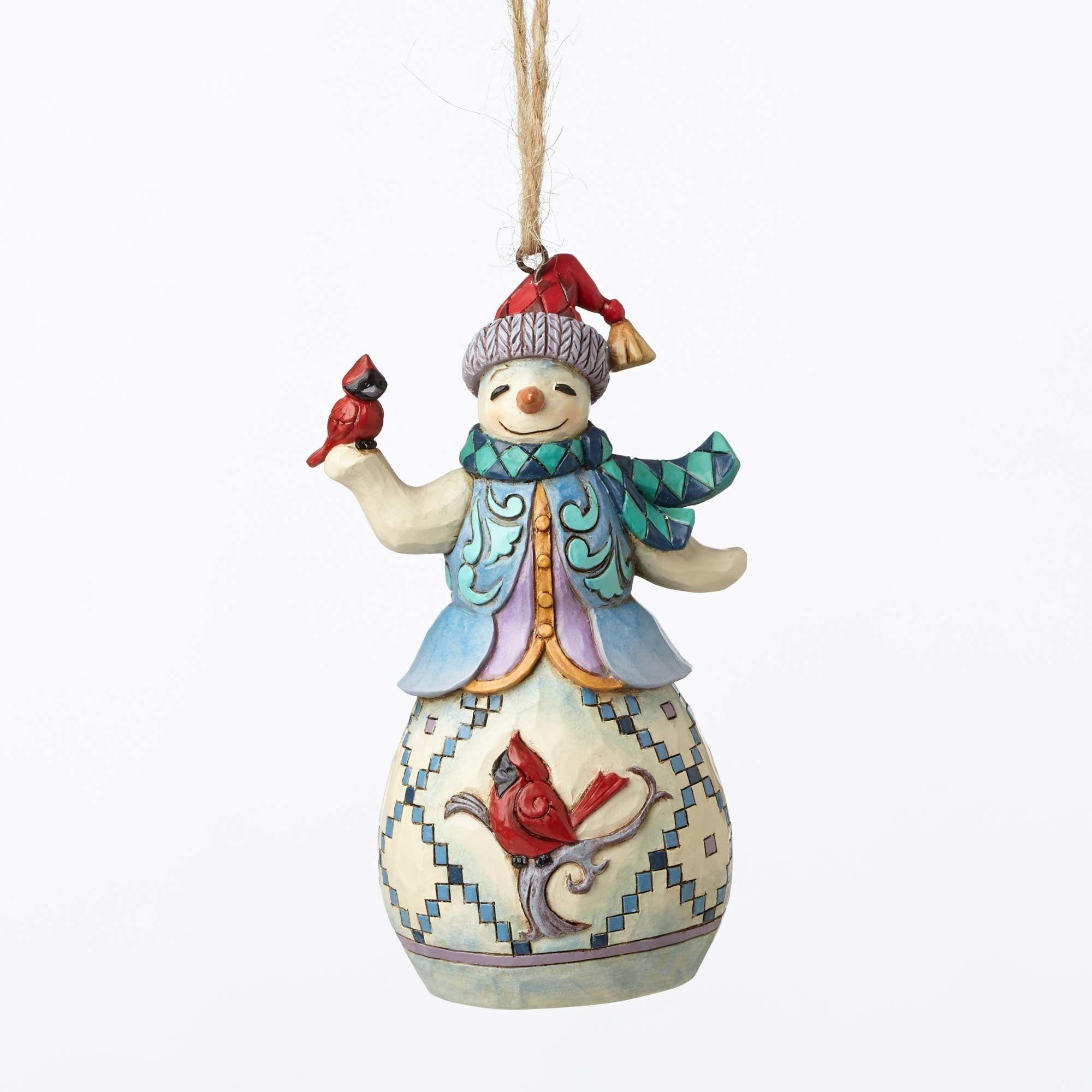 jim shore snowman with cardinal ornament