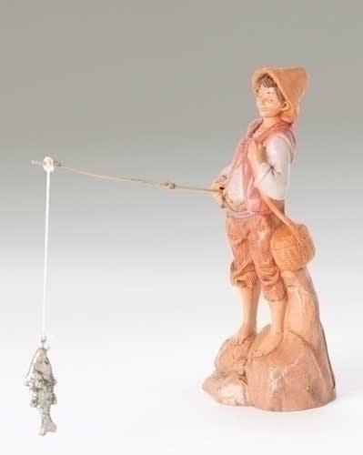 joseph fisherman with pole fontanini figurine