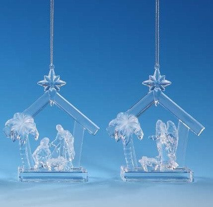 clear nativity or angel ornament