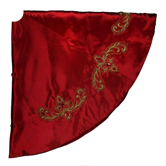 64 inch burgundy dupion tree skirt with gold jeweled details
