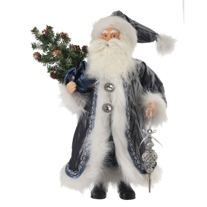 blue and gray sparkle fabric santa figurine