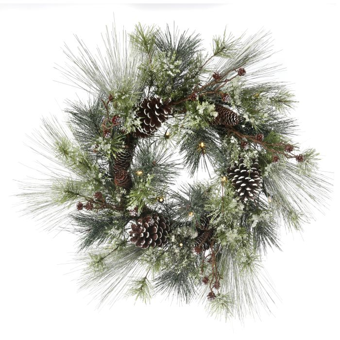 26 inch mixed pine wreath with pine cones and clear led lights