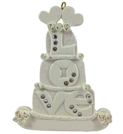 love wedding cake ornament orm093