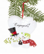 orm134 engaged snowman ornament