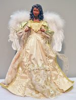 ivory and gold lace african american angel tree topper