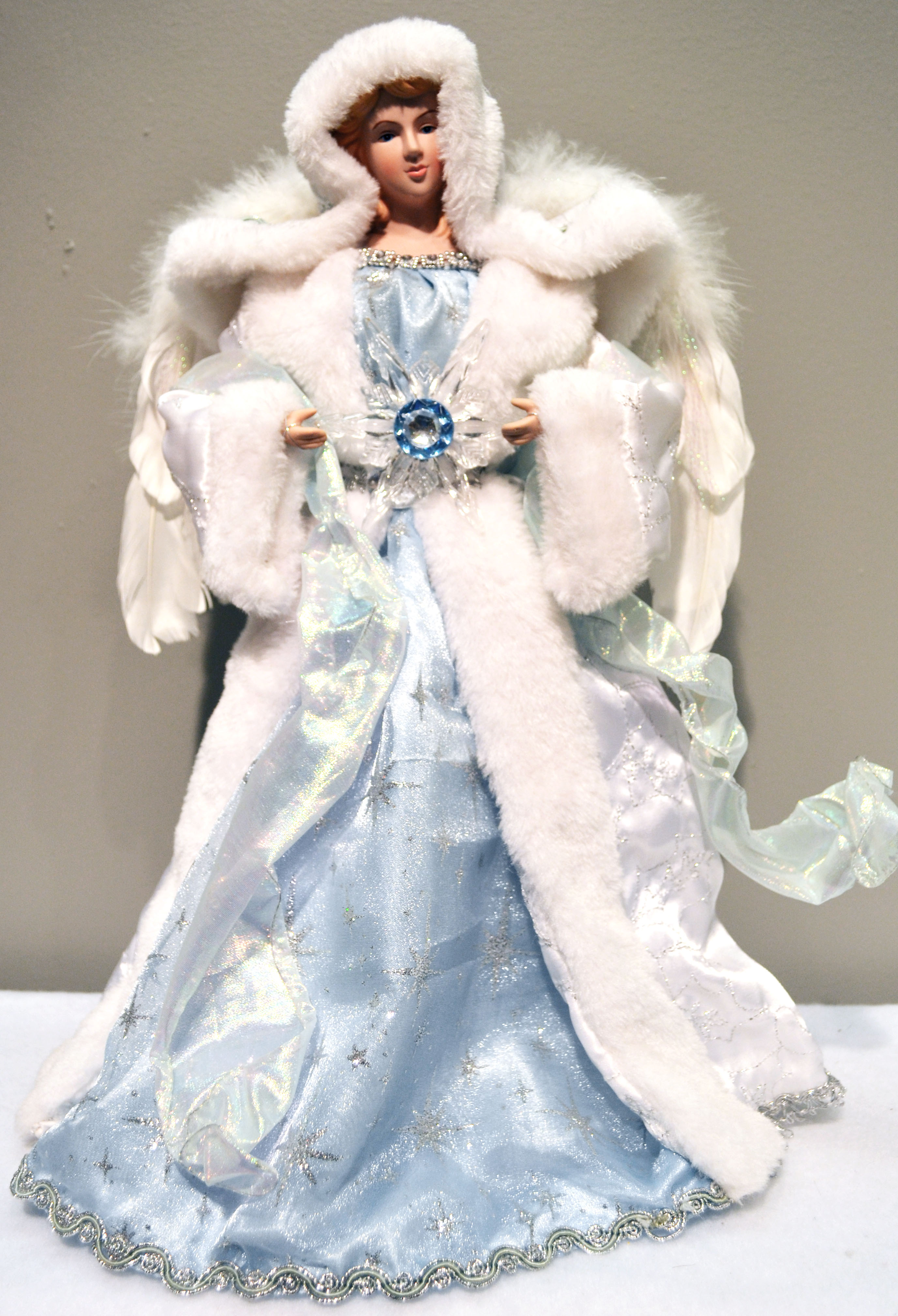 16 inch blue and white snowflake angel tree topper