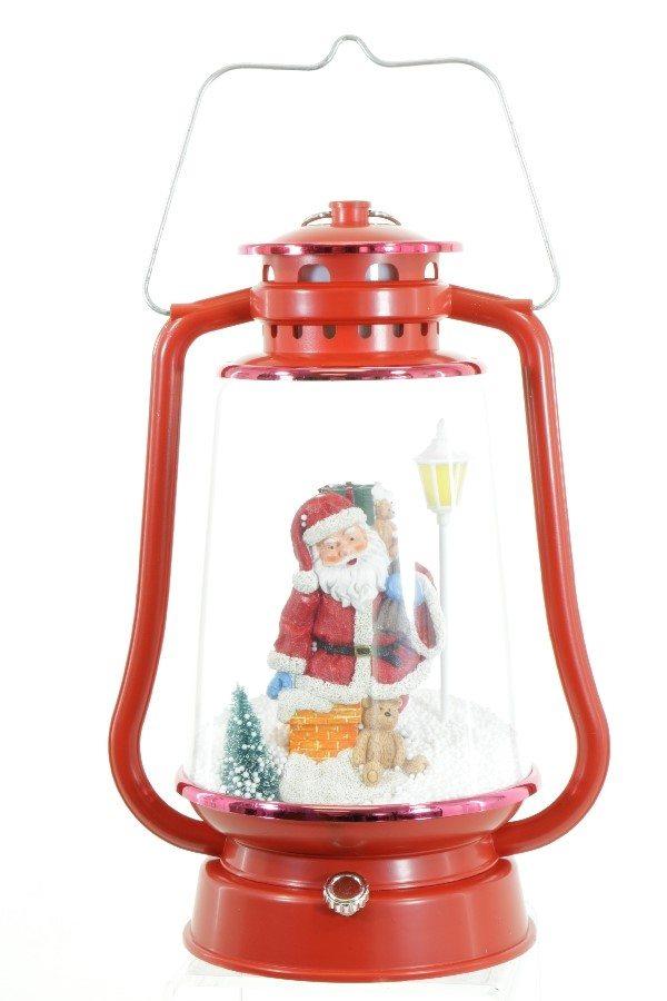 red snowing santa lantern