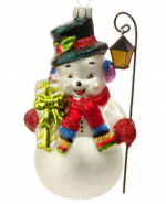 vintage snowman with lantern ornament