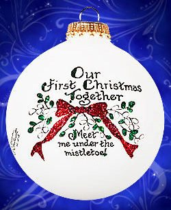 Meet Me Under the Mistletoe Our First Christmas Glass Ornament