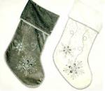 stg168 white and grey velvet snowflake bead stockings