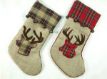 stg231 plaid reindeer head with bells stockings