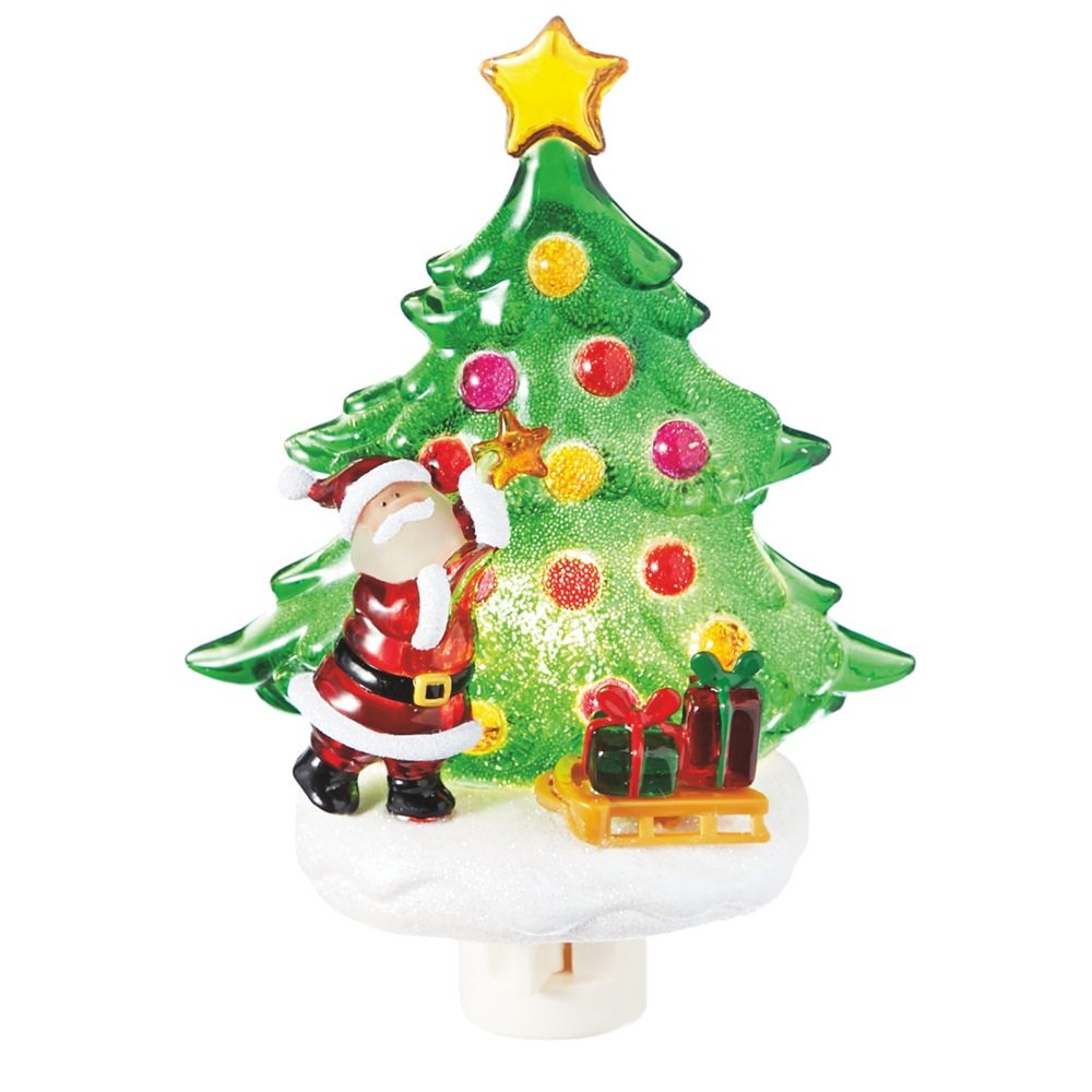 Santa with christmas tree night light store