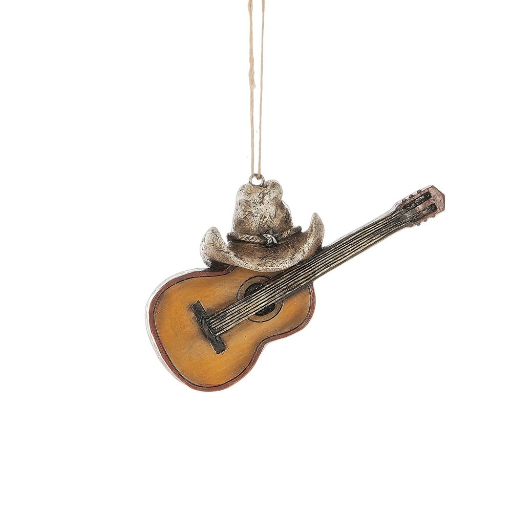 guitar with cowboy hat ornament