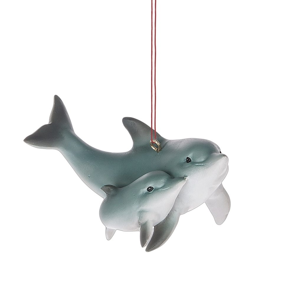 dolphin and baby ornament
