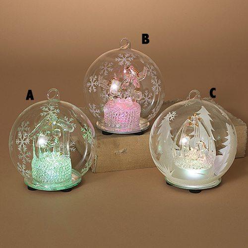 3 assorted lit nativity ornaments