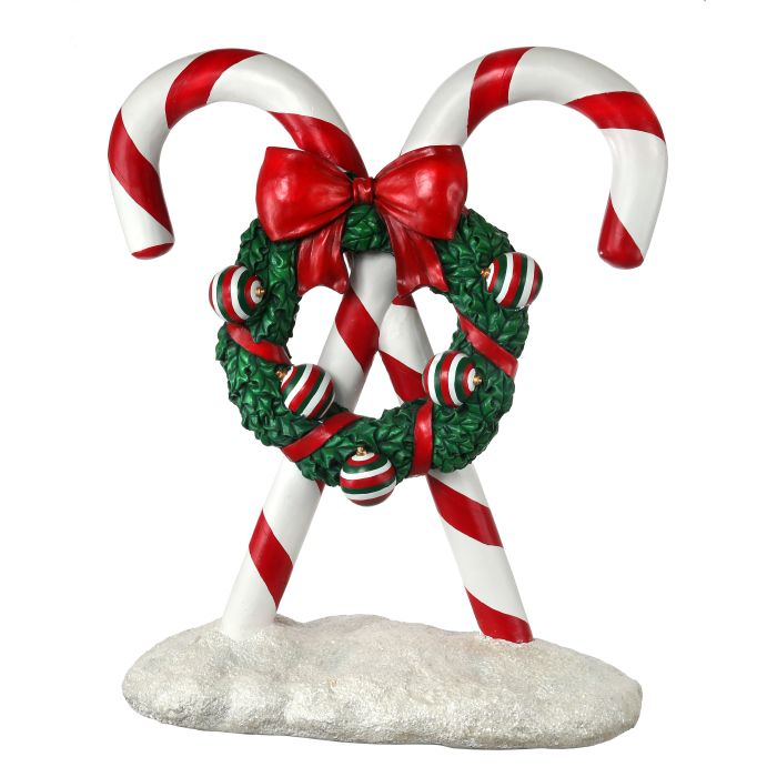 candy canes with wreath yard art