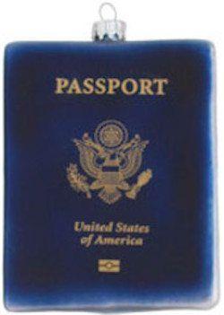 glass passport ornament
