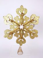 gold glitter snowflake tree topper