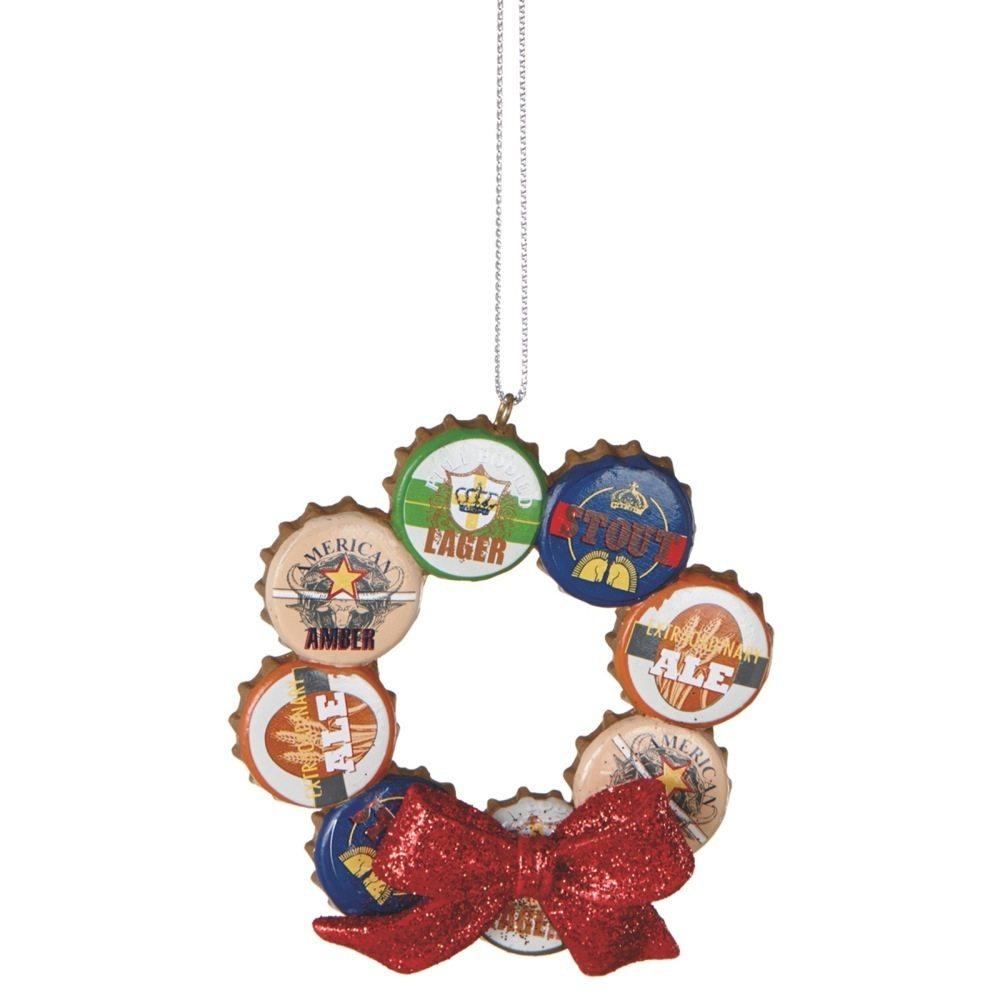 om060 bottle cap wreath ornament