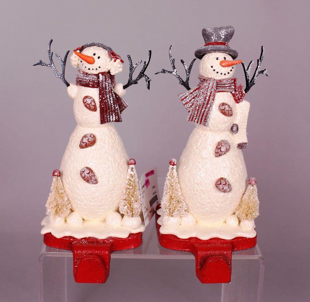 boy and girl snowmen stocking holders