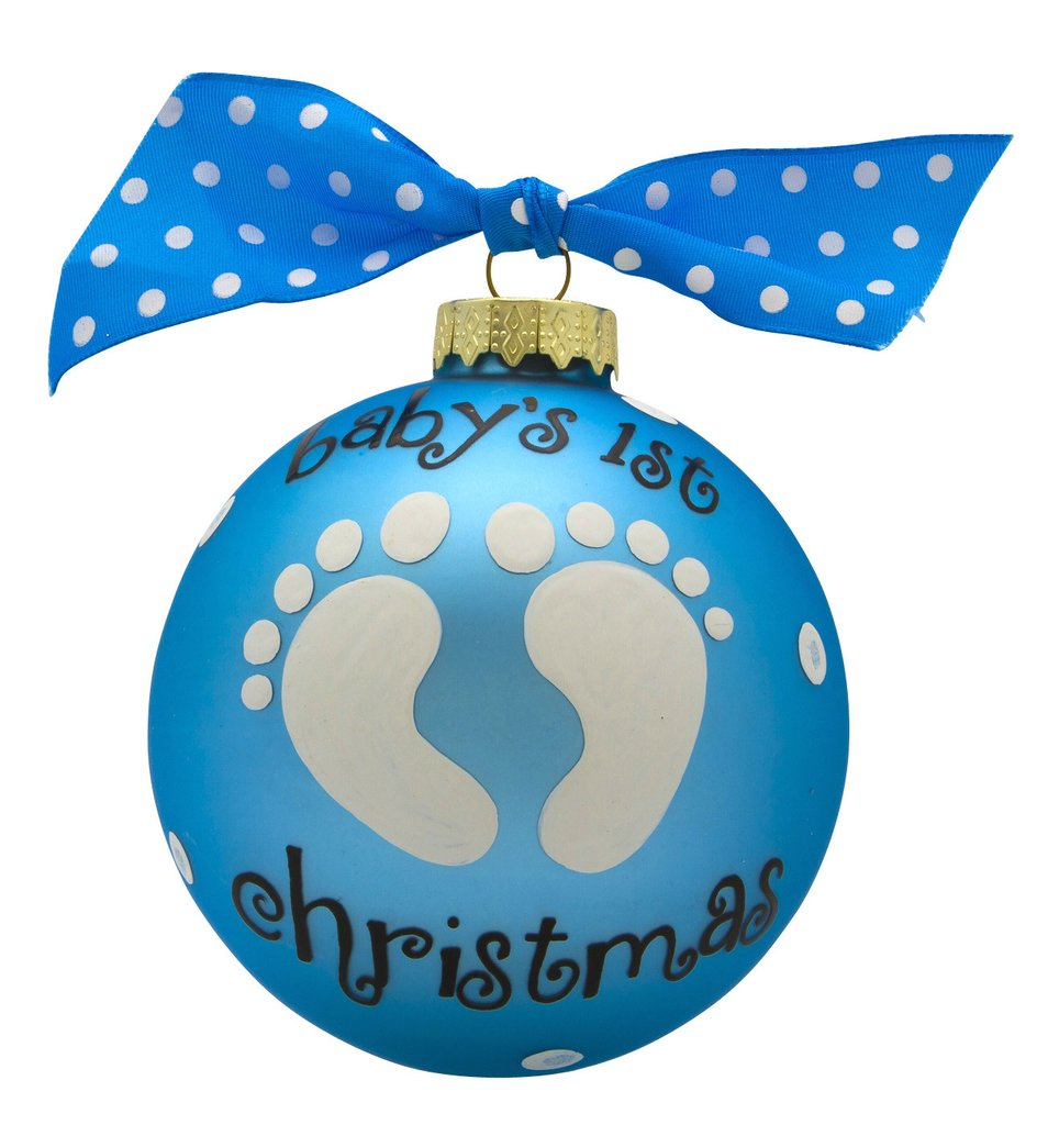 baby's first christmas baby feet glass ball ornament