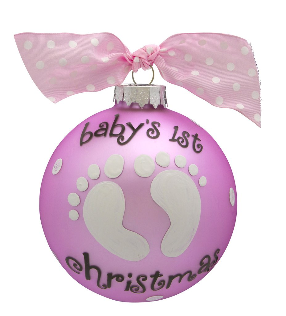baby's first christmas baby girl glass ball ornament