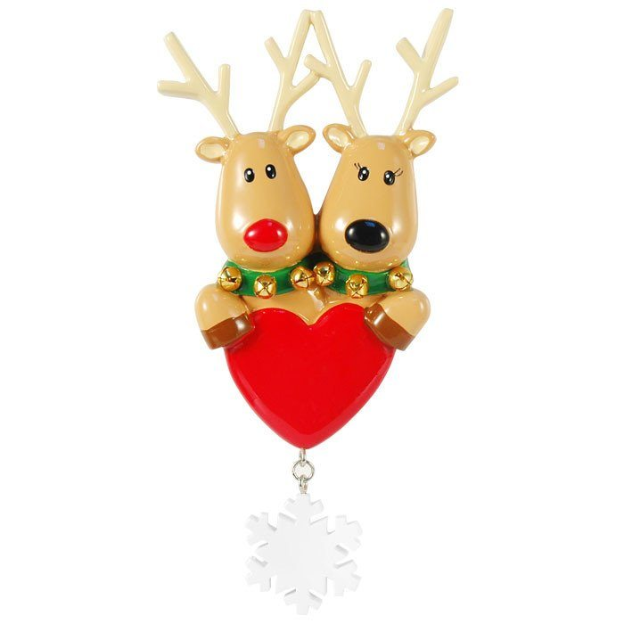 reindeer couple with heart ornament