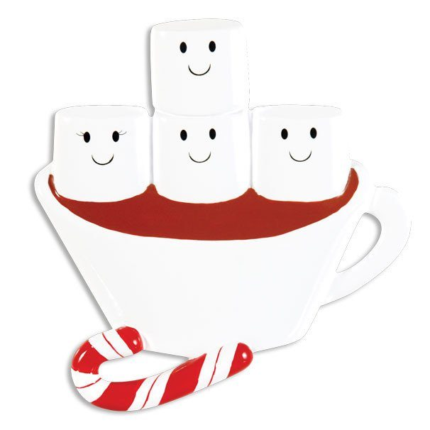 hot chocolate family of 4 ornament