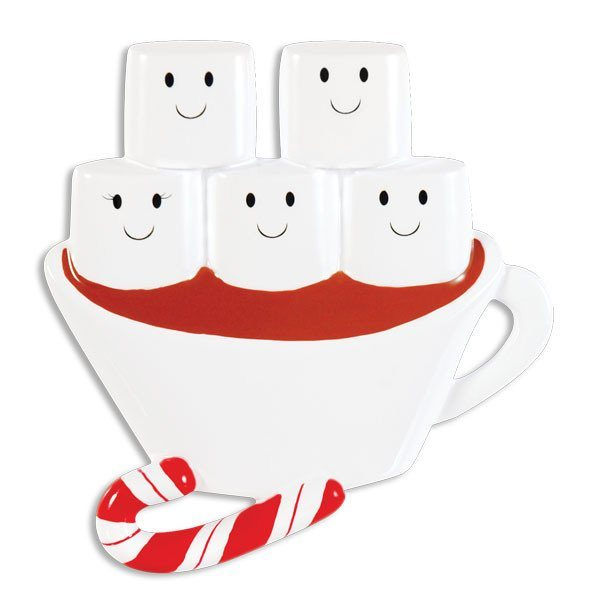 hot chocolate family of 5 ornament