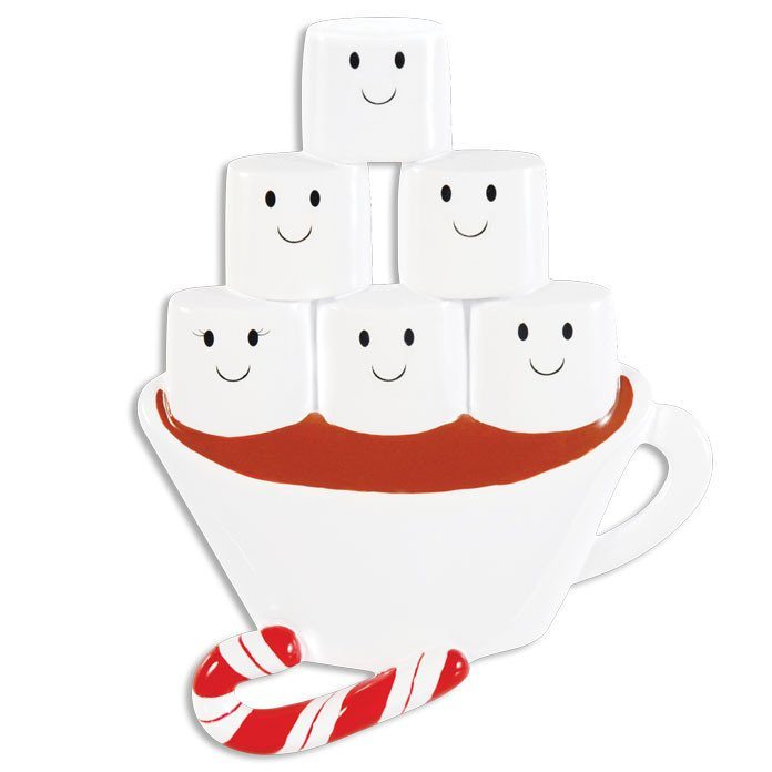 hot chocolate family of 6 ornament