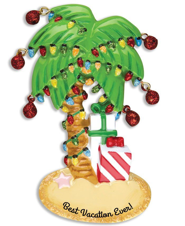 best vacation ever christmas palm tree ornament