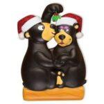 bears kissing under mistletoe ornament