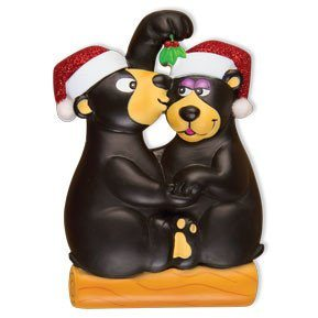 bears kissing under mistletoe ornament