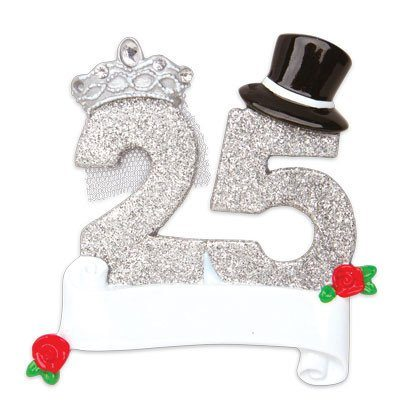 25th Wedding Anniversary Christmas Ornament