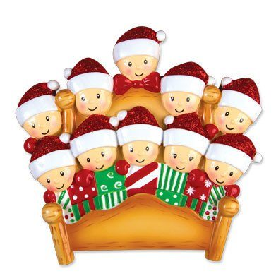 elves in bed family of 10 ornament