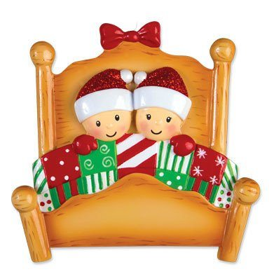 elves in bed family of 2 ornament