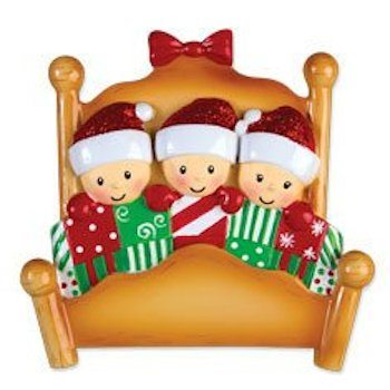 elves in bed family of  3 ornament