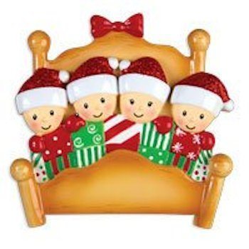 elves in bed family of 4 ornament