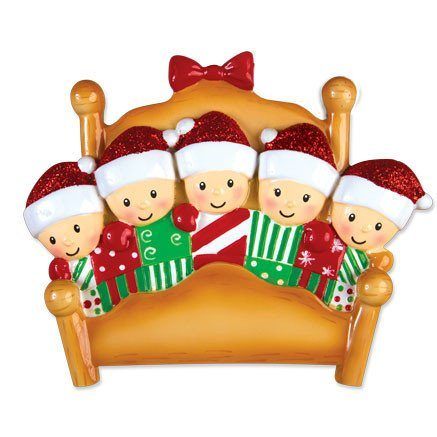 elves in bed family of 5 ornament