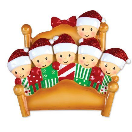 elves in bed family of 6 ornament
