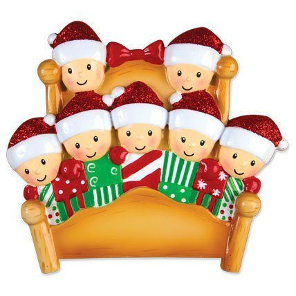 elves in bed family of 7 ornament