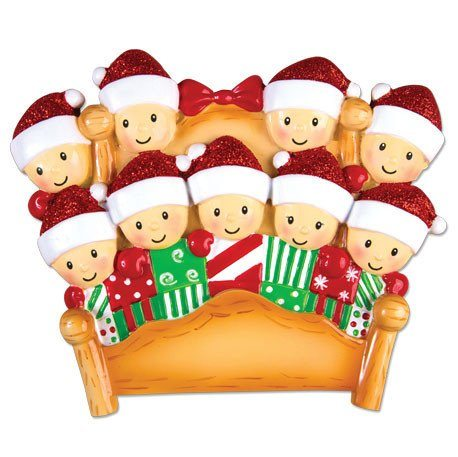 elves in bed family of 9 ornament