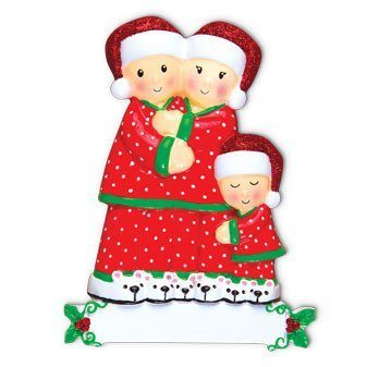 pajama family of 3 ornament